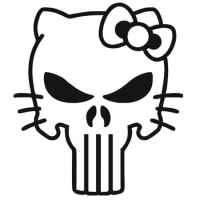 Наклейка Hello Kitty Punisher Skull