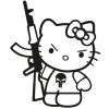 Наклейка Hello Kitty c АК 47 v1