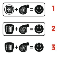 Наклейка Fiat + Turbo = Fun