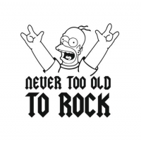Наклейка Never too old to rock (homer simpson) v3