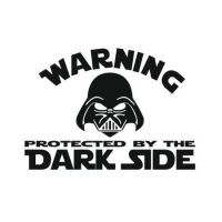 Наклейка Warning protected by the dark side
