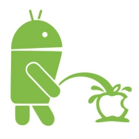 Наклейка Android Pissing on Apple