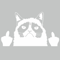 Наклейка Grumpy Cat Gives The Two Fingers