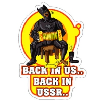 Наклейка Back in us Back in USSR Batman с гармошкой